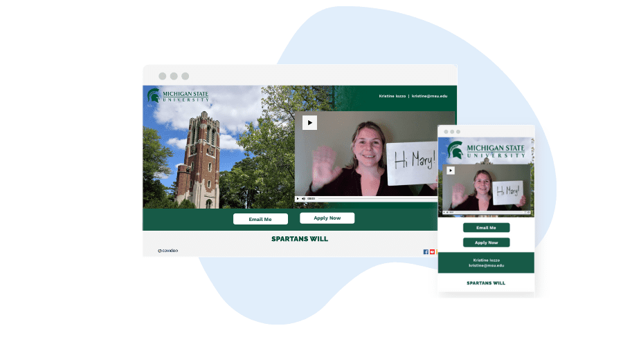 example of higher education video landing pages